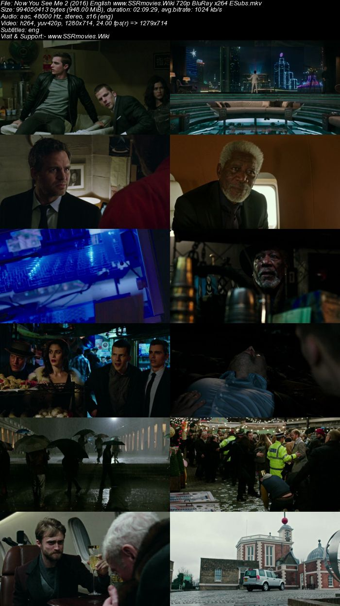 Now You See Me 2 (2016) English 720p BluRay x264 950MB ESubs Movie Download