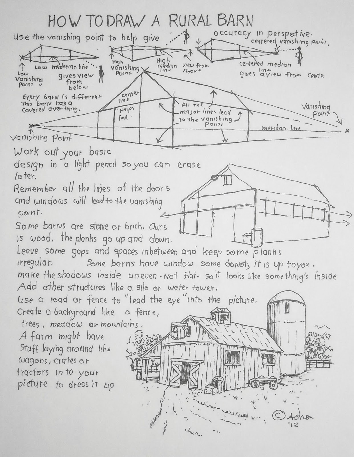 How To Draw Worksheets For The Young Artist How To Draw A Rural Barn Art Lesson