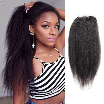 10-20 Inch Virgin Brazlian Hair Kinky Straight 4*4 Free Part