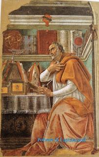 Agostino seduto nel suo studiolo a comprendere i Vangeli