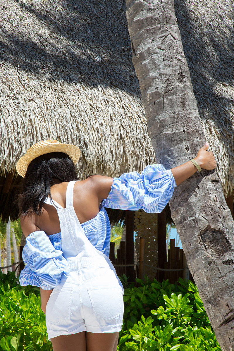 pixie market off the shoulder, Madewell overall, Punta cana, www.jadore-fashion.com