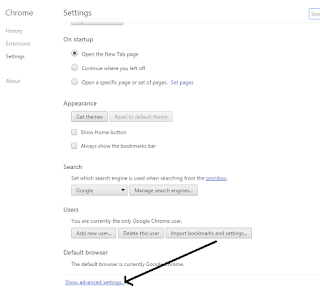 show advanced settings google chrome
