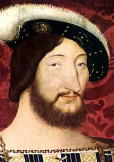 Rostro de Francisco I, de cabellos castaños, ojos marrones, barba y bigote.