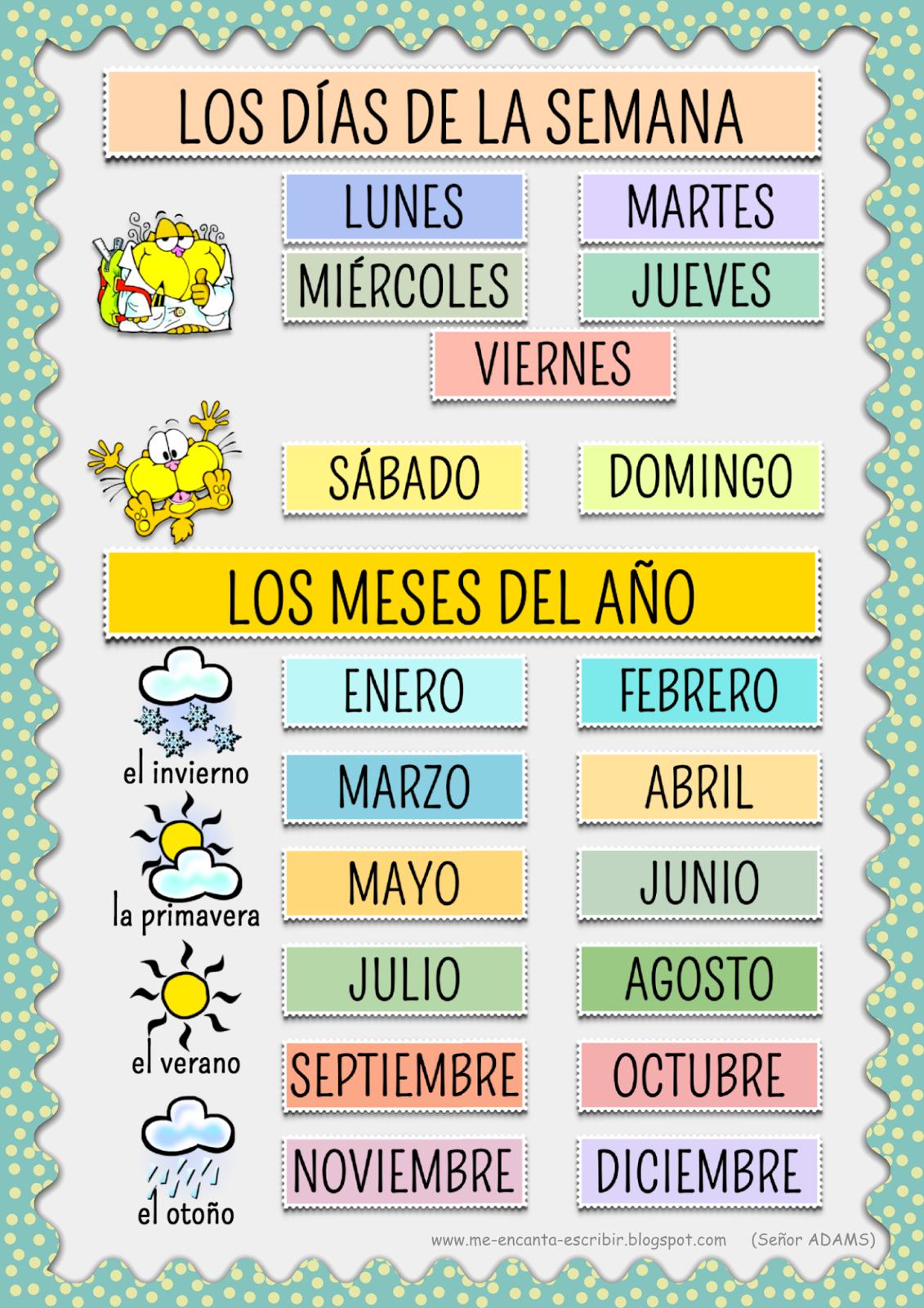 Clase De Espanol Los Meses Del Ano