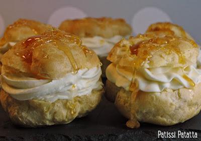 dessert de pâques, choux maison, crème à la fleur d'oranger, caramel