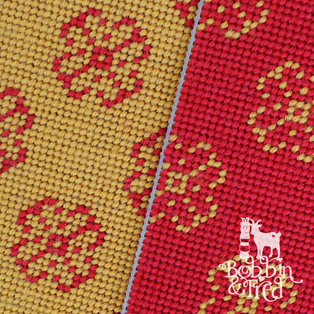 Matching Fairisle design in alternate colourways, left is red flowers and mustard background, right is mustard flowers and red background