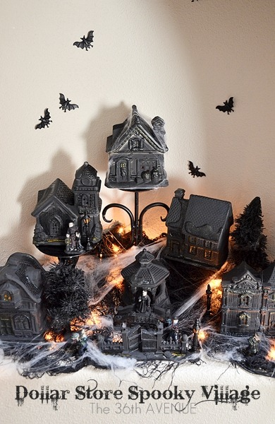 The 36th Avenue blog takes a Dollar Store village and turns it into a spooky scene that's perfect for halloween decorations
