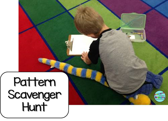 Use hands-on math centers to teach Patterning. Your students will love patterning with math materials and you will love not having worksheets to mark.