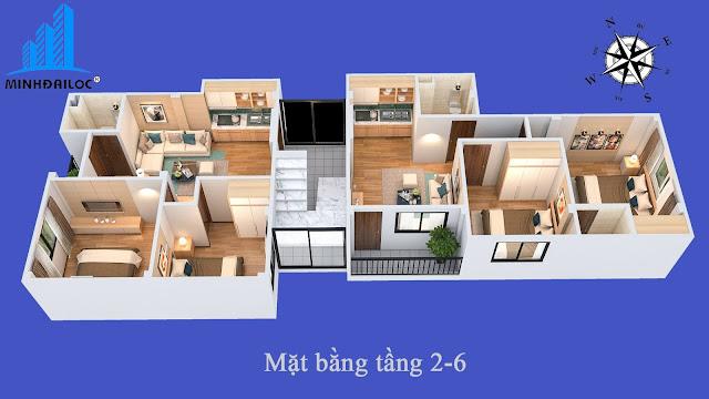 Mặt bằng thiết kế 3D từng tầng của tòa chung cư mini Minh Đại Lộc 2 giá rẻ
