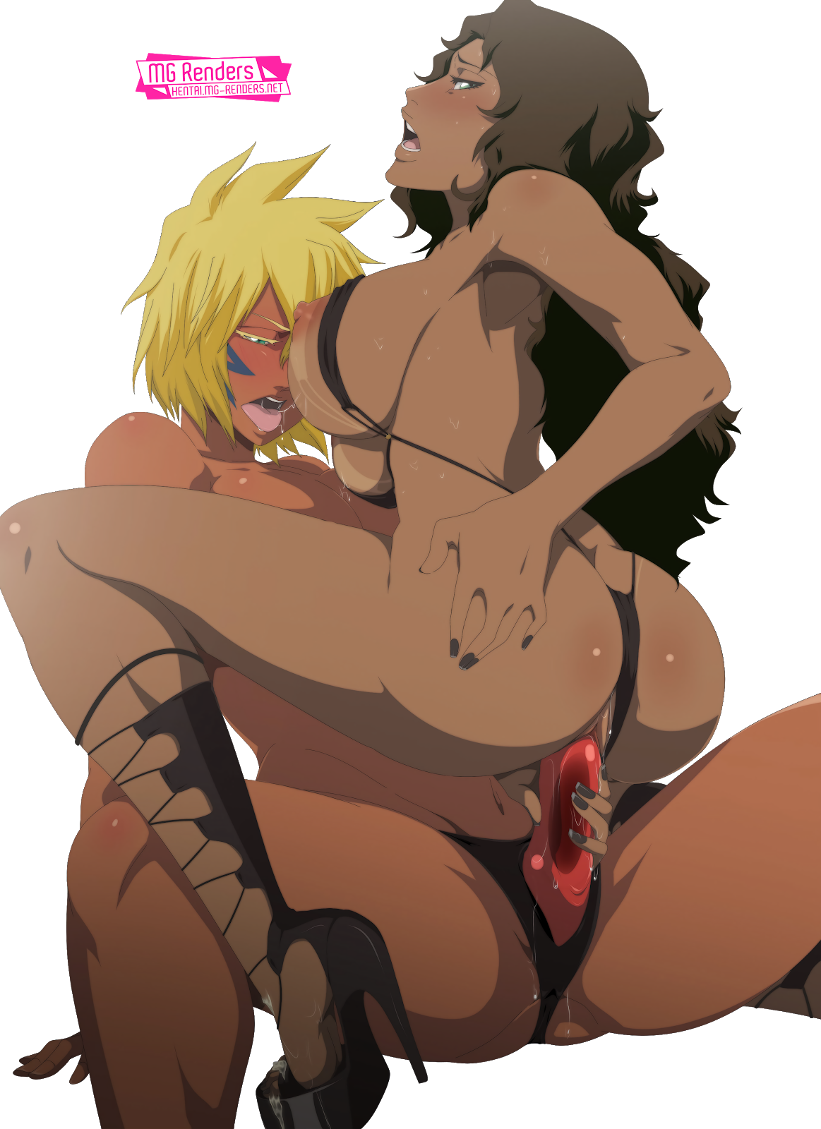 Tags: Anime, Render,  Ass Grab,  BLEACH,  Dark skin,  Dildo,  Franceska Mila Rose,  High heels,  Huge Breasts,  Micro Bikini,  Nipples,  No bra,  Spread Legs,  Tier Harribel,  Vagina,  Vaginal object insertion,  Vaginal Sex,  Yuri, PNG, Image, Picture