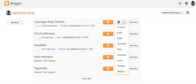 Cara mengganti Bahasa dan Mengatur Zona Waktu di Blogger.com Dengan Mudah 1