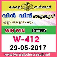 Win Win Lottery W-412 Results 29-5-2017