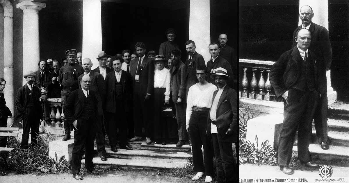 """Lenin, who was turned into a kind of a Socialist saint after dying in 1924, remained a constant in all photos. But those who surrounded him were often not so fortunate. This group photo from 1920 contained so many """"people's enemies"""" (Grigory Zinoviev, Nikolai Bukharin, Karl Radek – all shot in the 1930s) that the authorities cut it down to just Lenin and proletariat writer Maxim Gorky (behind Lenin, with the mustache)."""