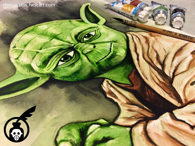 Yoda Watercolor Painting Photo