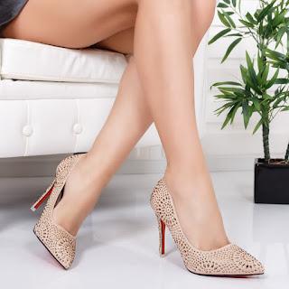 Pantofi Mizina bej eleganti cu insertii aurii