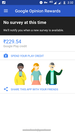 Total Google Play credits earned