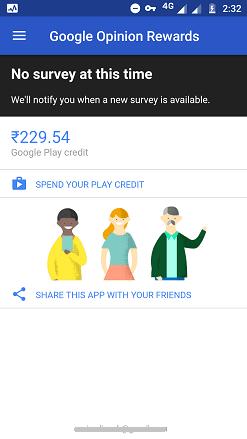 Total Google Play credits earned