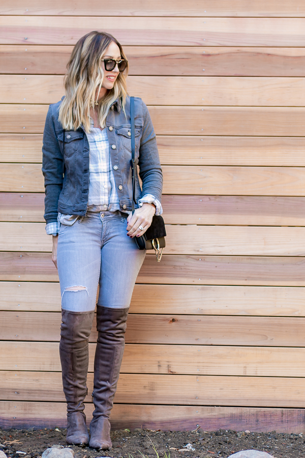 casual fall outfit grey plaid