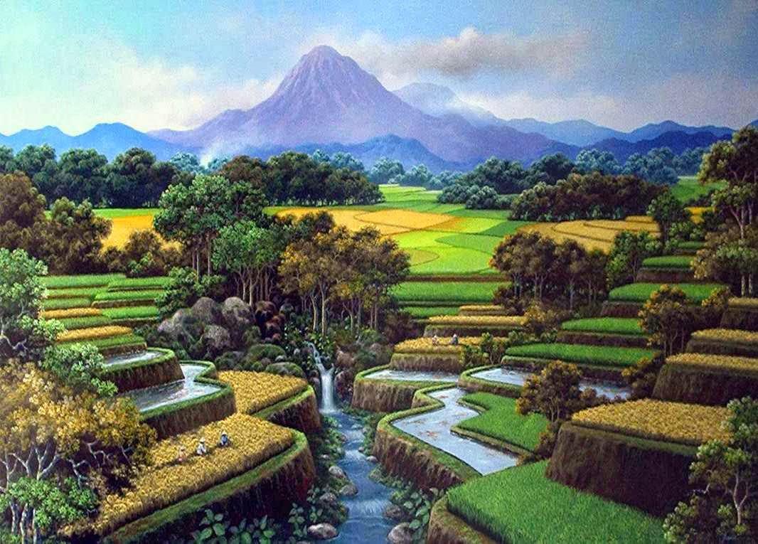 gambar+pemandangan+gunung+dan+sawah