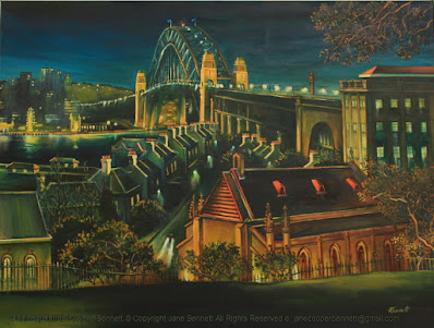 plein air oil painting painted at night from Observatory Hill of heritage terraces in Lower Fort Street Millers Point with the Sydney Harbour Bridge by industrial heritage artist Jane Bennett