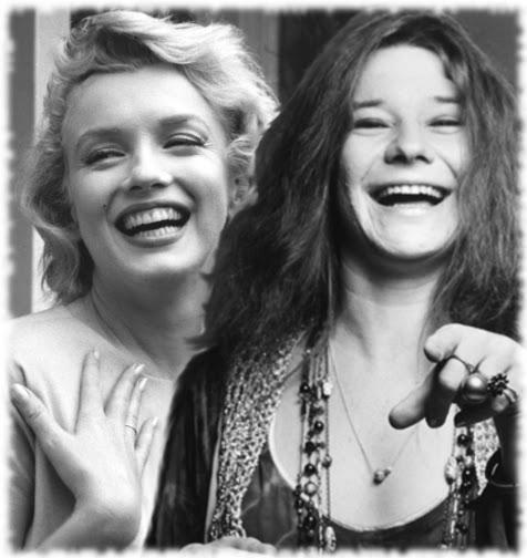Illusztráció vershez, Janis Joplin és Marilyn Monroe haláluk utáni első találkozása egy üveg southern comfort mellett a Haight-Ashburyn.