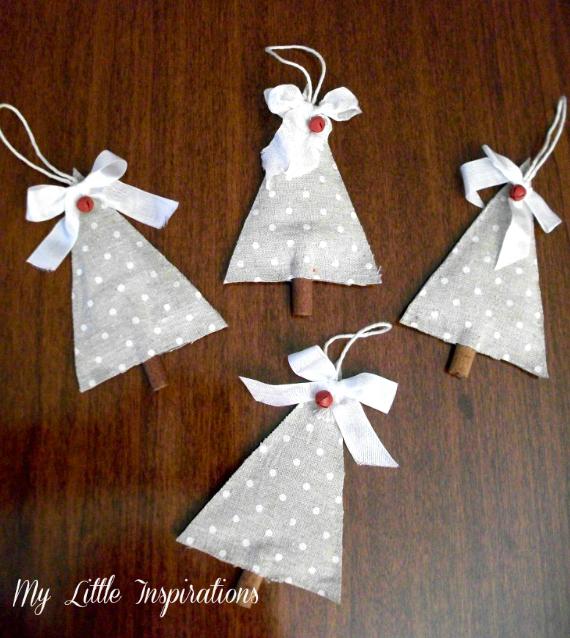 Decorazioni di Natale senza cuciture: Alberi di tessuto e cannella - 4 alberi grande - MLI