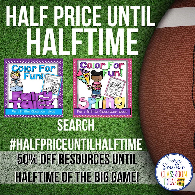 #SBDollarDeal Two Resources for $1 Each at Fern Smith's Classroom Ideas AND Two Resources at Half Price ALL to Celebrate and have some Super Bowl Fun this Sunday!