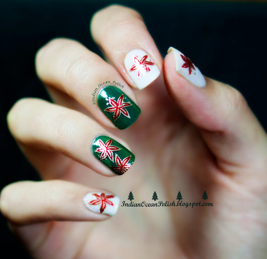"Christmas Flower Nail art- ""Poinsettias"""