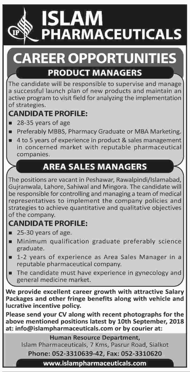 Product Manager, Areas Sales Manager jobs in Islam Pharmaceuticals