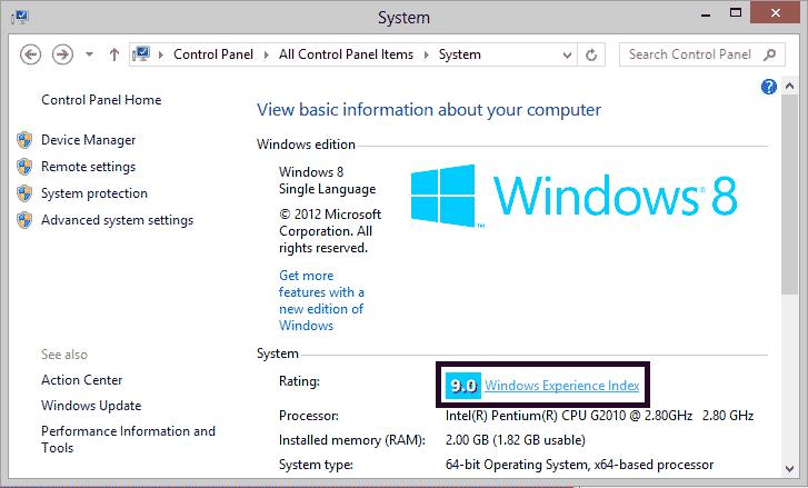 Hack Windows Experience Index Score