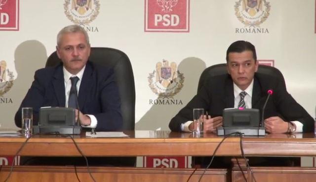 premierul Grindeanu si Dragnea sustinand o conferinta de presa a PSD