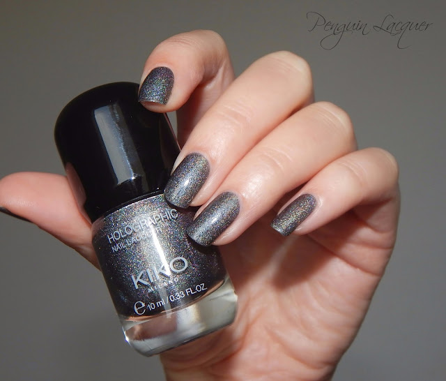 kiko holographic nail lacquer 006 graphite flashlight