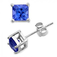 Princess Cut Tanzanite Studs