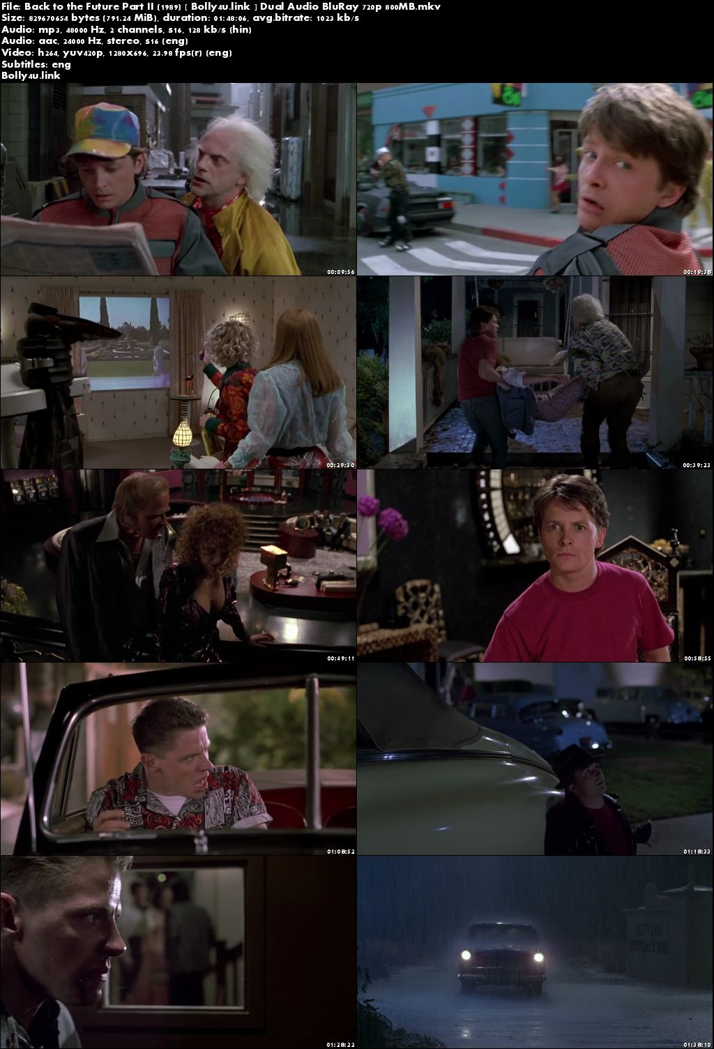 Back to the Future Part II 1989 BRRip 800MB Hindi Dual Audio 720p Download
