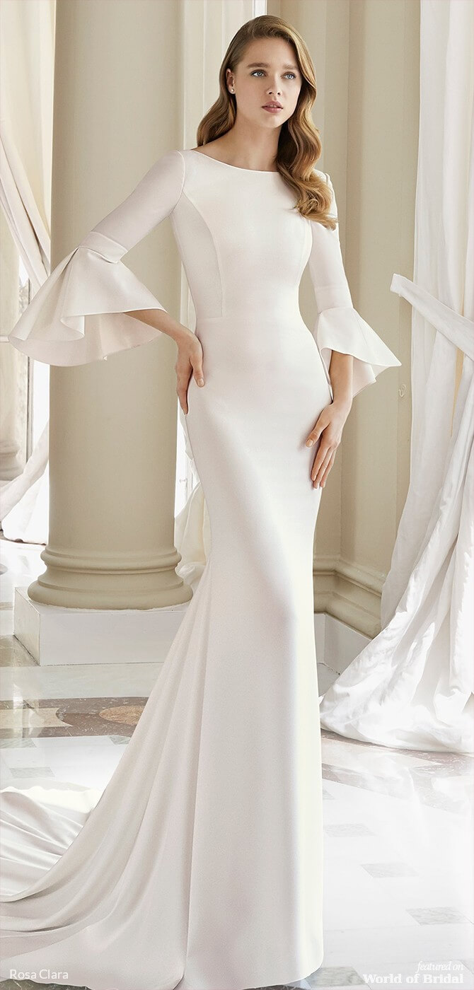c688f2ca25b6 This design with bateau neckline will win you over with its simple lines  and lightweight crepe. The mermaid styling really emphasises the bride's  femininity ...