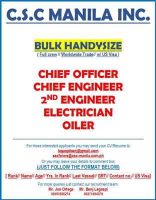 Oiler, Electrician, 2nd Engineer, Chief Engineer, Chief