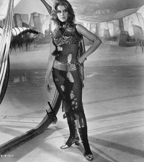 Jane Fonda in black catsuit in Barabarella 1968