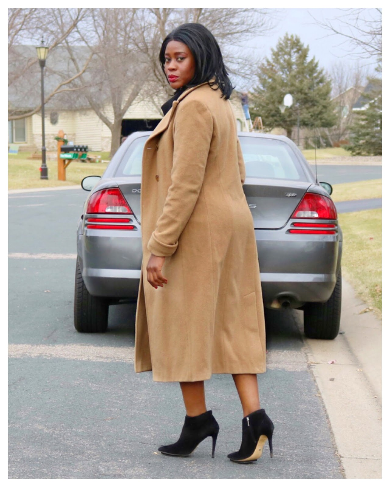 Fashion Beauty Zone: Beauty's Fashion Zone: Camel Color Coat + Black Ankle Boots