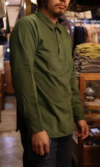 LOOP&WEFT  LOST1001  フェルガナハイゲージインレイプルオーバーシャツ レギュラーカラー  オリーブグリーン