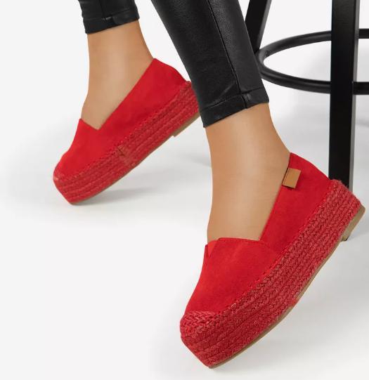 Espadrile dama moderne fashion Rosii cu talpa groasa la moda 2020