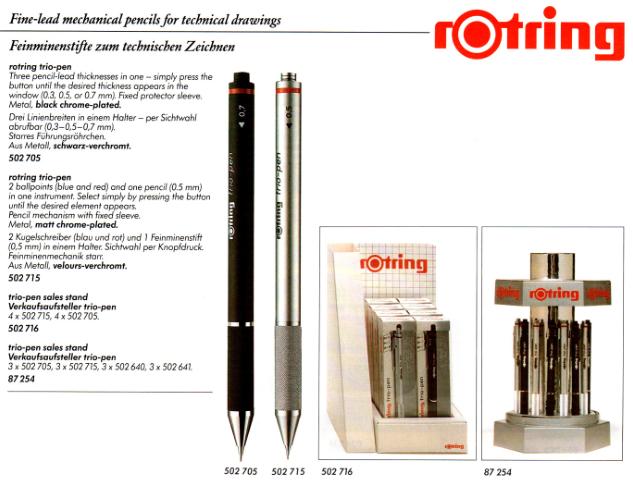 rOtring  Druckbleistift 0,7 visupencil blau Katalog 1996
