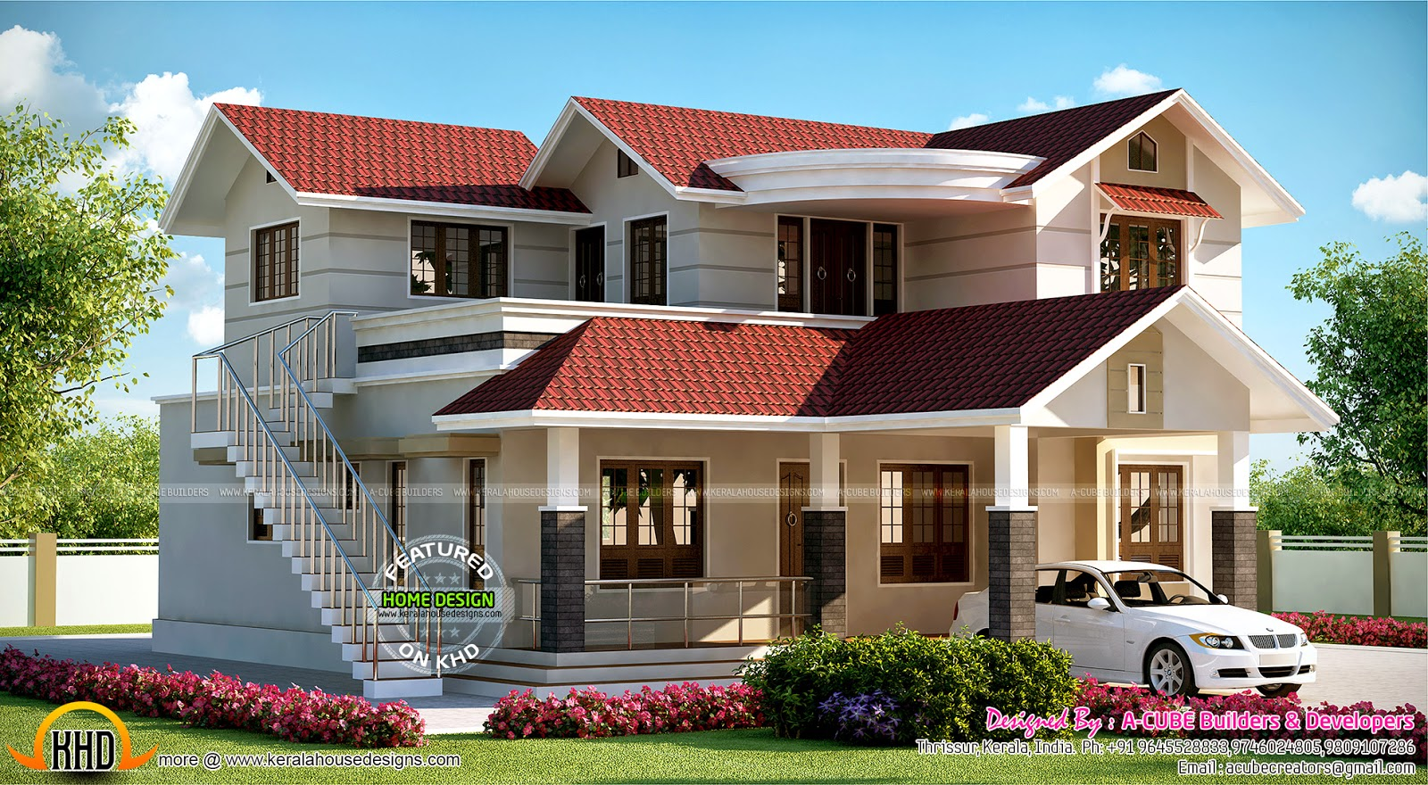 House with outside staircase kerala home design and for Two floor house plans in kerala