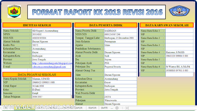 Aplikasi Raport Kurikulum 2013 Hasil Revisi jenjang SD