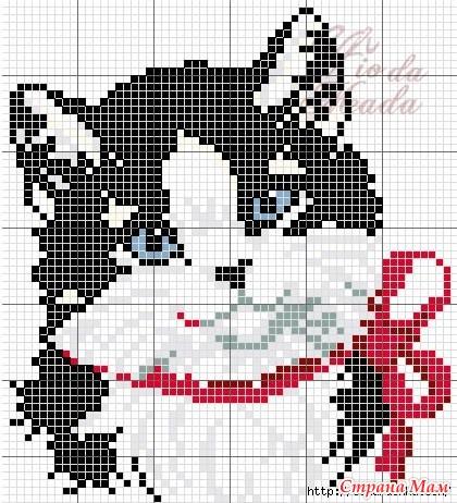 Схеми котиків для вишивання та в язання жакардових візерунків. bc5e3bd73f7d8