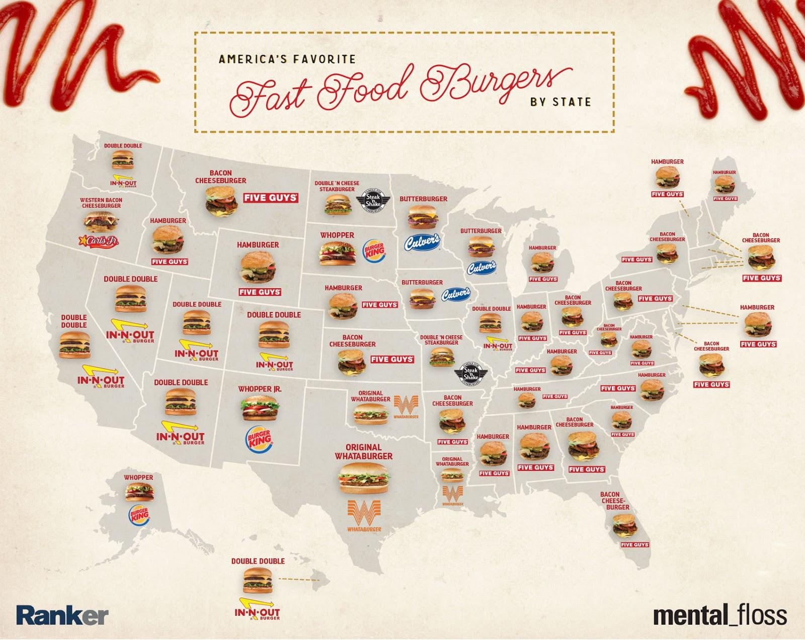Favorite Fast Food Burgers Of Each U S State