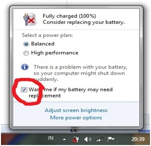 Solusi Jika Baterai Laptop di Silang Merah (Consider Replacing Your Battery)