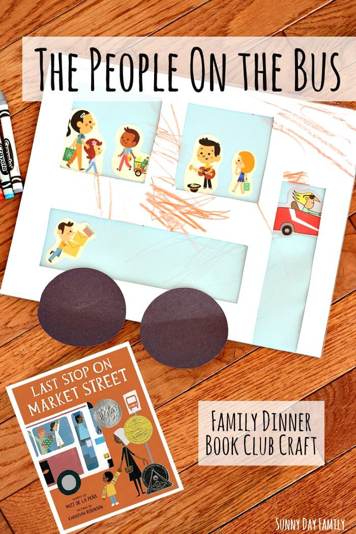 Make a bus with real windows in this kids craft inspired by Last Stop on Market Street! A fun bus craft for kids for your Family Dinner Book Club night reading Last Stop on Market Street.