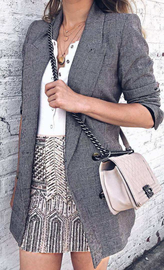 stylish look | plaid blazer + bag + white top + glitter skirt