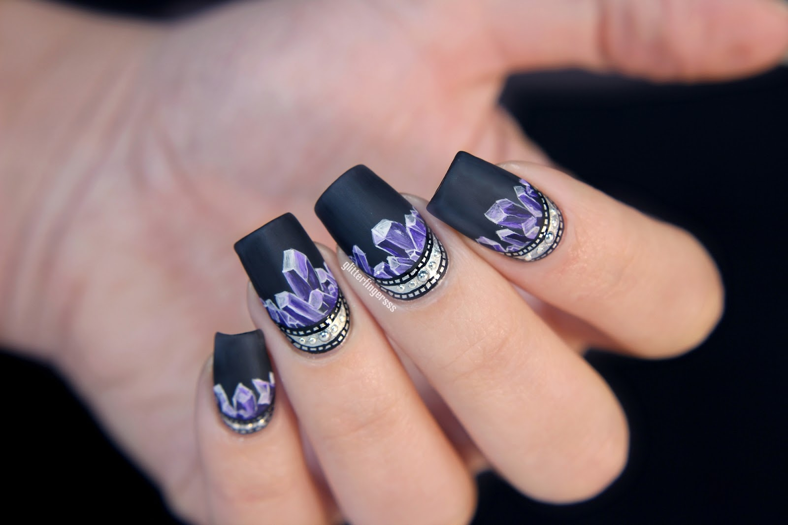 NAIL ART | The forever inspiring amethyst ~ Glitterfingersss in english