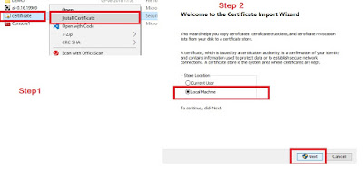 Certificate Install step1 and 2